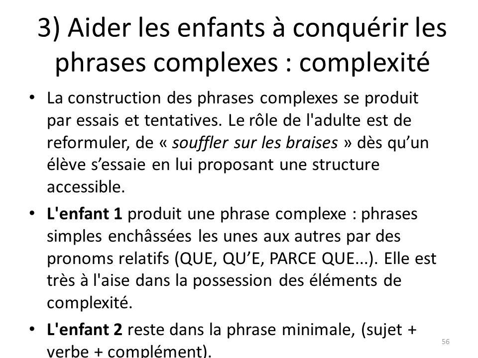 3) Aider les enfants à conquérir les phrases complexes : complexité La construction des phrases complexes se produit par essais et tentatives. Le rôle