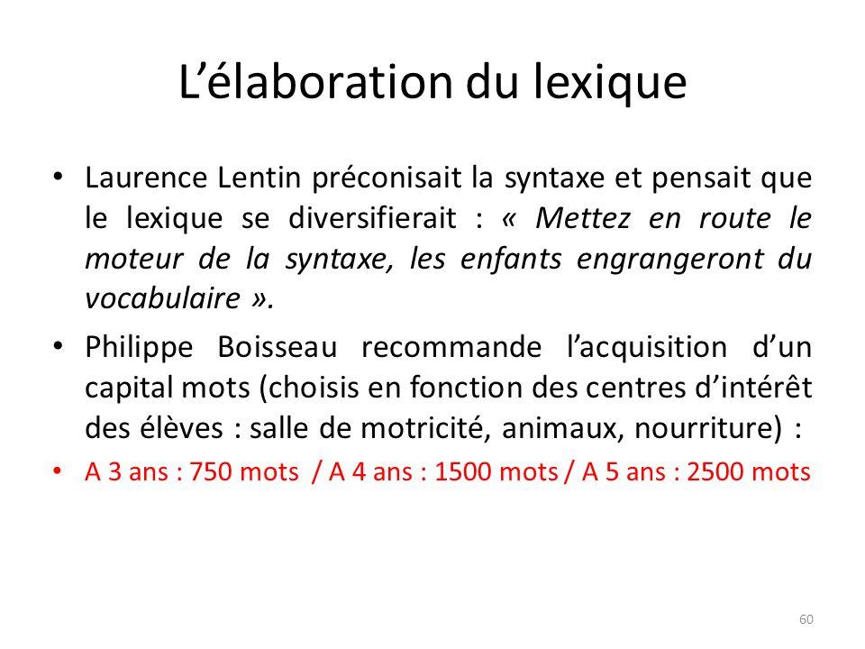 Lélaboration du lexique Laurence Lentin préconisait la syntaxe et pensait que le lexique se diversifierait : « Mettez en route le moteur de la syntaxe