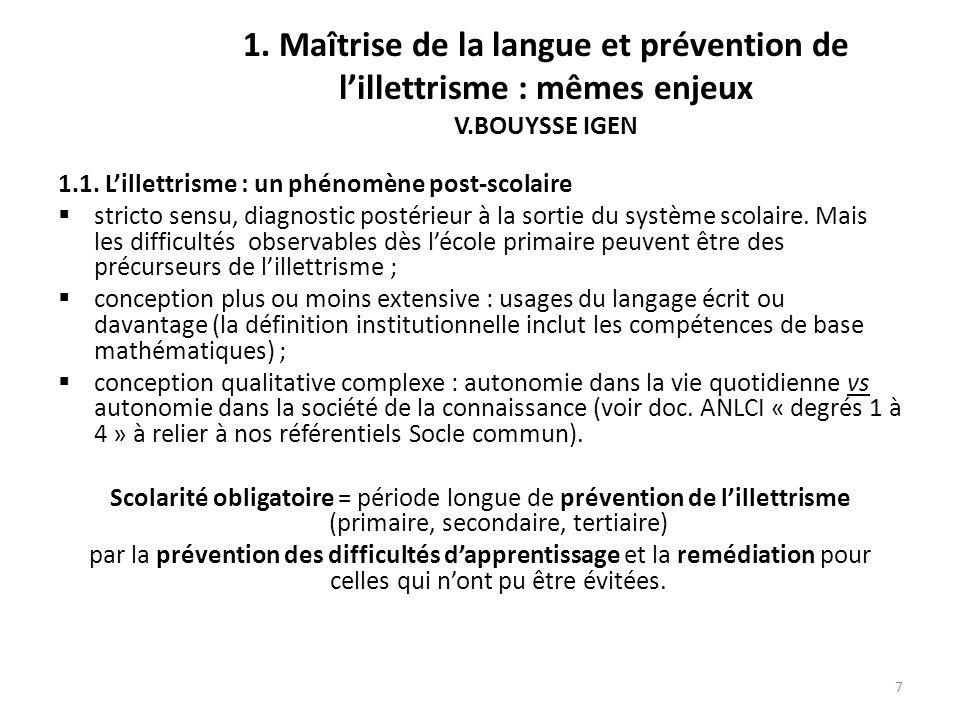 8 1.Maîtrise de la langue et prévention de lillettrisme : mêmes enjeux 1.2.
