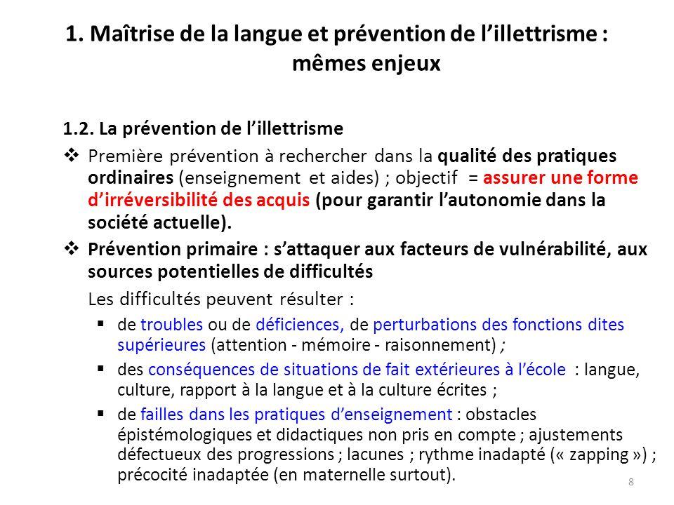 8 1. Maîtrise de la langue et prévention de lillettrisme : mêmes enjeux 1.2. La prévention de lillettrisme Première prévention à rechercher dans la qu