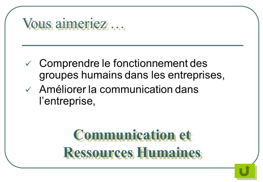 Comprendre le fonctionnement des groupes humains dans les entreprises, Améliorer la communication dans lentreprise, Vous aimeriez … Communication et R