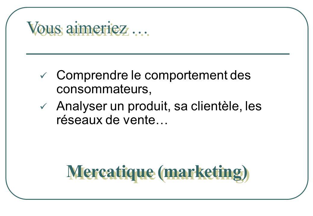 Comprendre le comportement des consommateurs, Analyser un produit, sa clientèle, les réseaux de vente… Vous aimeriez … Mercatique (marketing) Mercatiq