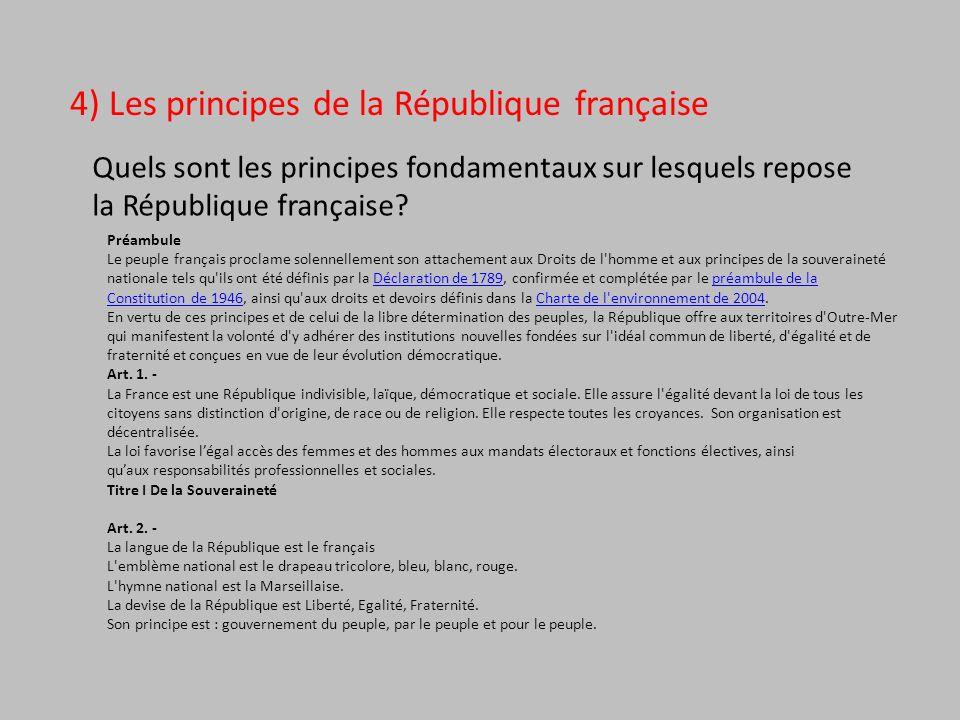 4) Les principes de la République française Quels sont les principes fondamentaux sur lesquels repose la République française? Préambule Le peuple fra