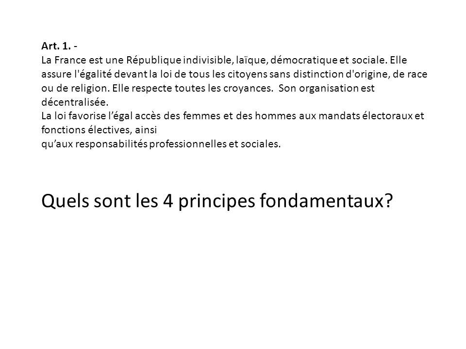Art. 1. - La France est une République indivisible, laïque, démocratique et sociale. Elle assure l'égalité devant la loi de tous les citoyens sans dis