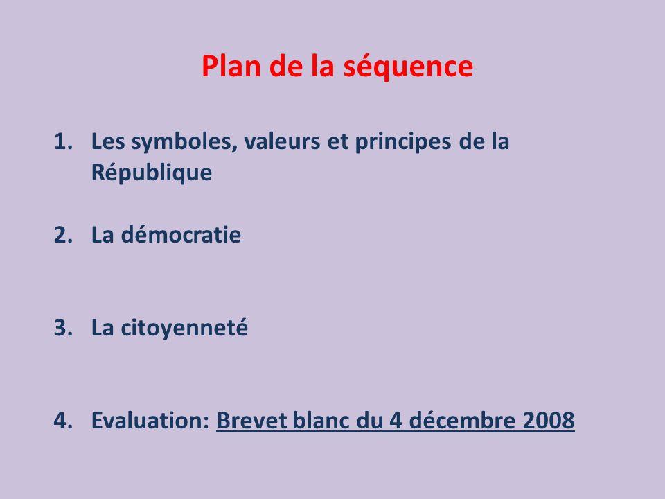 Plan de la séquence 1.Les symboles, valeurs et principes de la République 2.La démocratie 3.La citoyenneté 4.Evaluation: Brevet blanc du 4 décembre 20