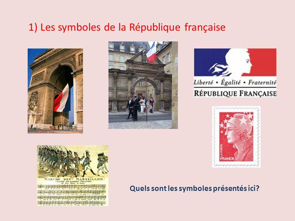 1) Les symboles de la République française Quels sont les symboles présentés ici?