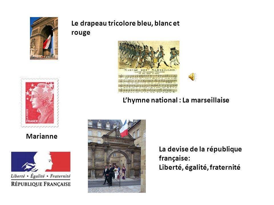 Le drapeau tricolore bleu, blanc et rouge Lhymne national : La marseillaise Marianne La devise de la république française: Liberté, égalité, fraternit