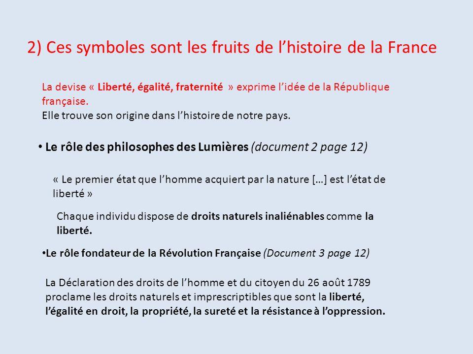 2) Ces symboles sont les fruits de lhistoire de la France Le rôle des philosophes des Lumières (document 2 page 12) « Le premier état que lhomme acqui