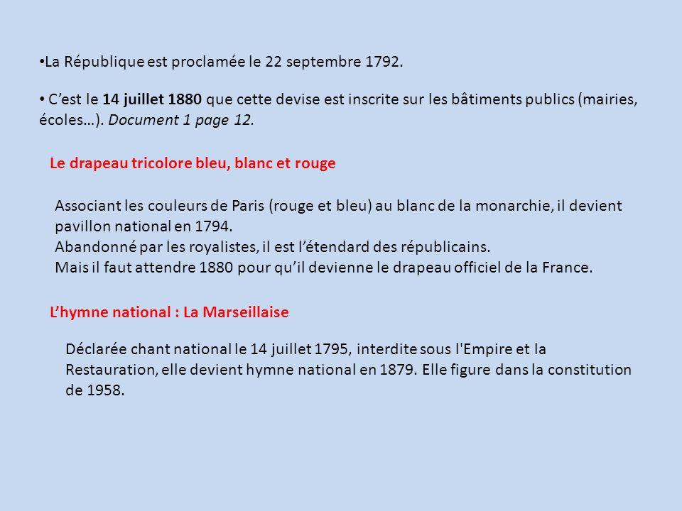 La République est proclamée le 22 septembre 1792. Cest le 14 juillet 1880 que cette devise est inscrite sur les bâtiments publics (mairies, écoles…).