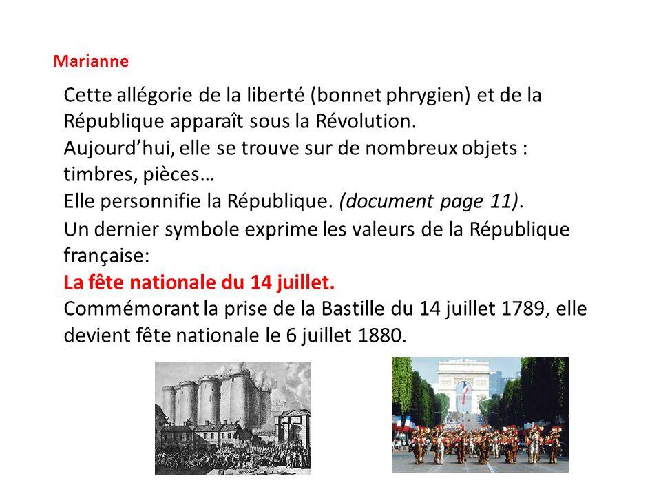 Marianne Cette allégorie de la liberté (bonnet phrygien) et de la République apparaît sous la Révolution. Aujourdhui, elle se trouve sur de nombreux o