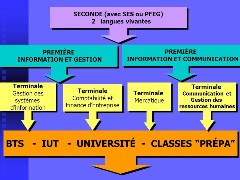 A LISSUE DE LA PREMIERE A LISSUE DE LA PREMIERE Une terminale à choisir COMMUNICATION ET GESTION DES RESSOURCES HUMAINES MERCATIQUE (MARKETING ) GESTI