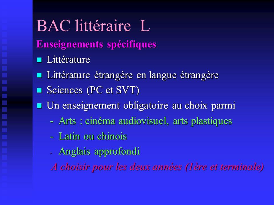 Le BAC L Les dominantes Philosophie, littérature Philosophie, littérature Les langues Les langues Les arts, la culture générale Les arts, la culture g