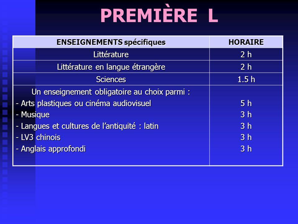 PREMIÈRE L, ES, S ENSEIGNEMENTS communs aux 3 séries HORAIRE Français 4 h Langue vivante 1 + 2 anglais / allemand / italien / espagnol 4 h Histoire gé