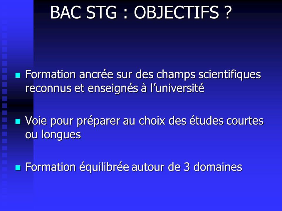 BAC STG : OBJECTIFS .