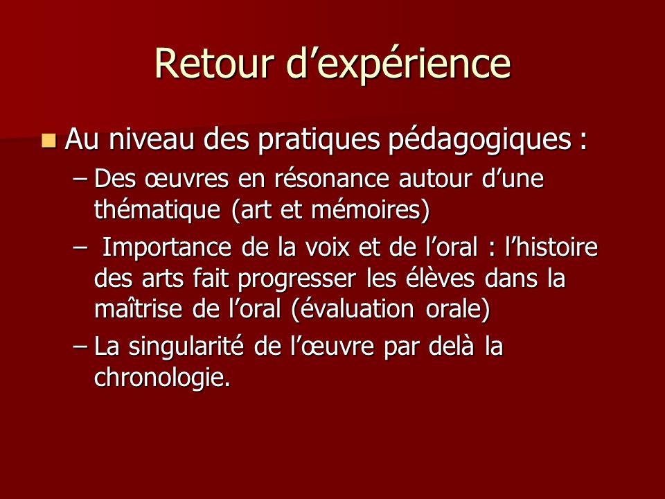 Retour dexpérience Au niveau des pratiques pédagogiques : Au niveau des pratiques pédagogiques : –Des œuvres en résonance autour dune thématique (art