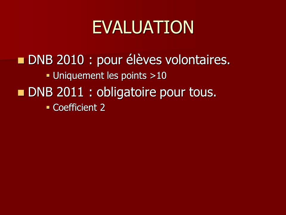EVALUATION DNB 2010 : pour élèves volontaires. DNB 2010 : pour élèves volontaires. Uniquement les points >10 Uniquement les points >10 DNB 2011 : obli