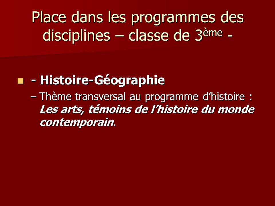 Place dans les programmes des disciplines – classe de 3 ème - - Histoire-Géographie - Histoire-Géographie –Thème transversal au programme dhistoire :