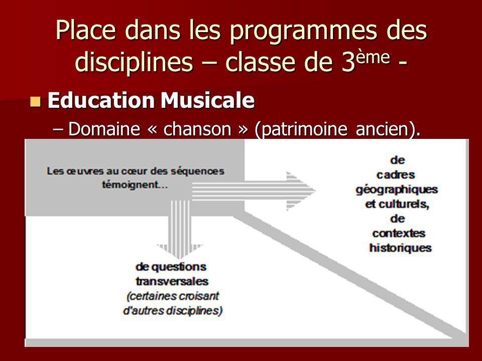 Place dans les programmes des disciplines – classe de 3 ème - Education Musicale Education Musicale –Domaine « chanson » (patrimoine ancien).