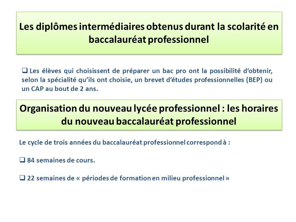 Les diplômes intermédiaires obtenus durant la scolarité en baccalauréat professionnel Les élèves qui choisissent de préparer un bac pro ont la possibi