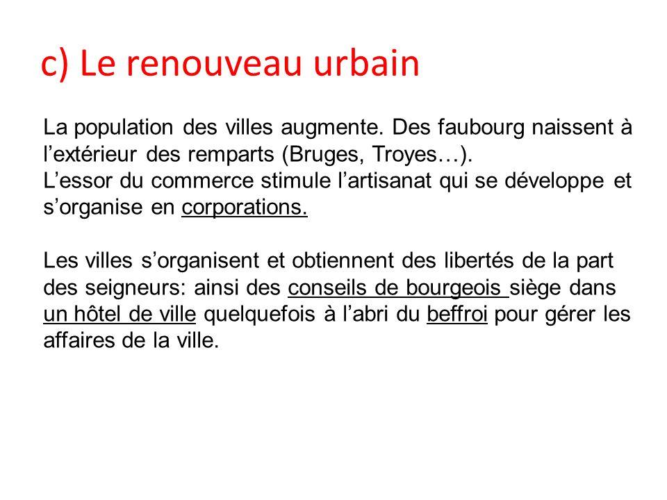 c) Le renouveau urbain La population des villes augmente. Des faubourg naissent à lextérieur des remparts (Bruges, Troyes…). Lessor du commerce stimul