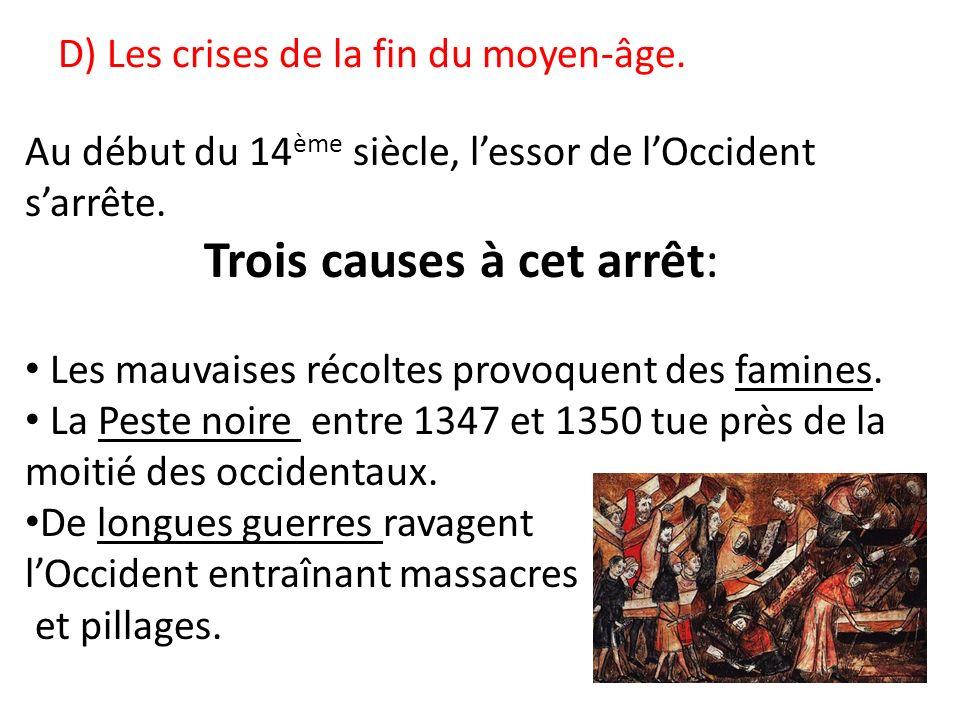 D) Les crises de la fin du moyen-âge. Au début du 14 ème siècle, lessor de lOccident sarrête. Trois causes à cet arrêt: Les mauvaises récoltes provoqu