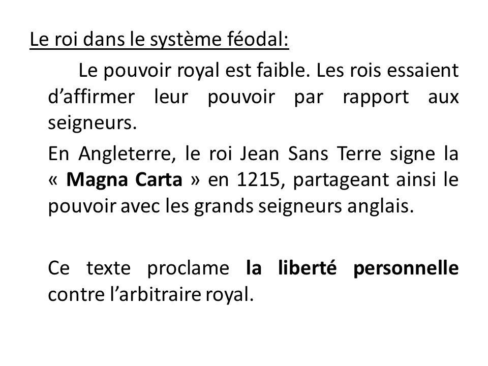 Le roi dans le système féodal: Le pouvoir royal est faible. Les rois essaient daffirmer leur pouvoir par rapport aux seigneurs. En Angleterre, le roi