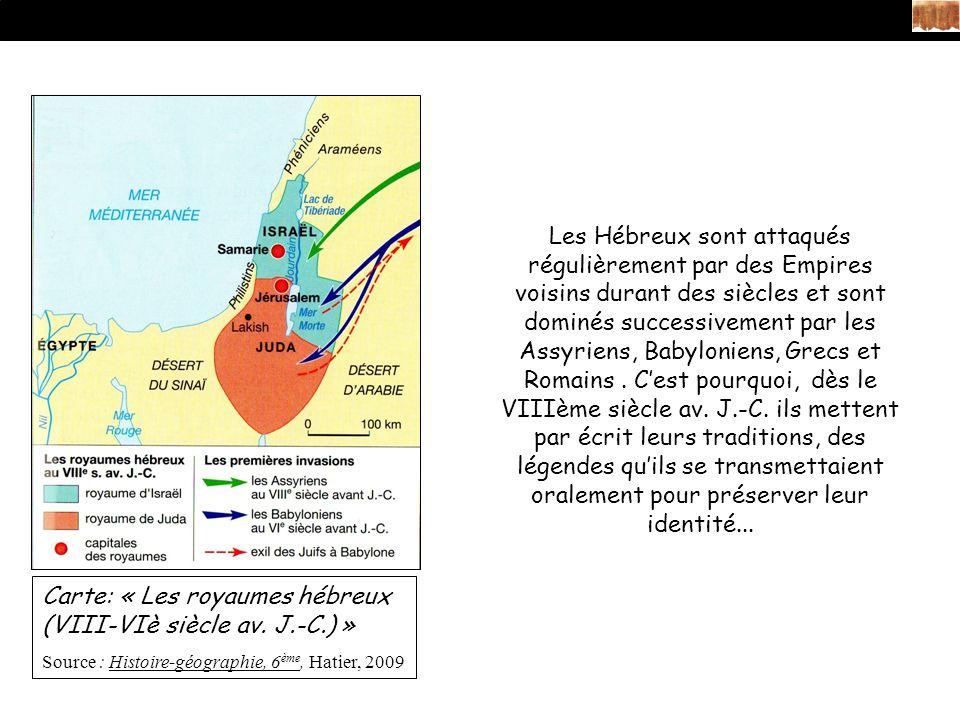 Carte: « Les royaumes hébreux (VIII-VIè siècle av.