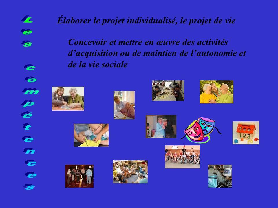 Élaborer le projet individualisé, le projet de vie Concevoir et mettre en œuvre des activités dacquisition ou de maintien de lautonomie et de la vie sociale