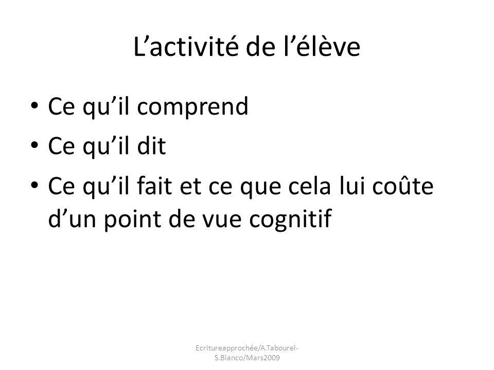 Lactivité de lélève Ce quil comprend Ce quil dit Ce quil fait et ce que cela lui coûte dun point de vue cognitif Ecritureapprochée/A.Tabourel- S.Bianco/Mars2009