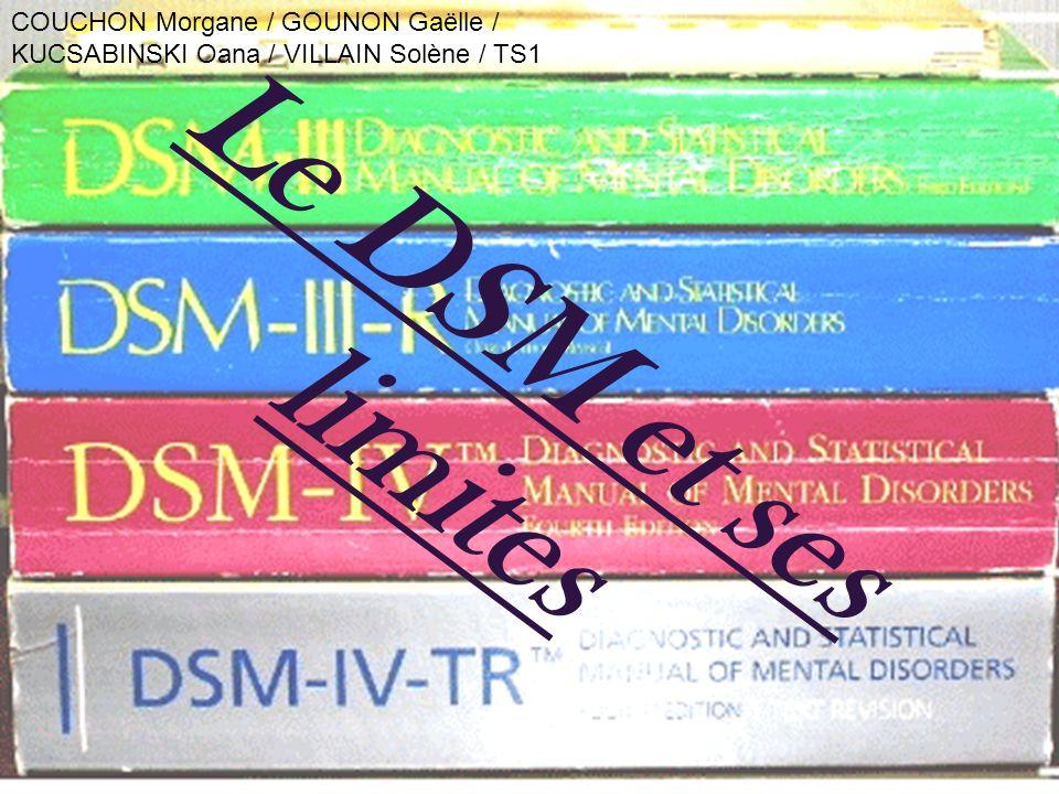 Le DSM et ses limites COUCHON Morgane / GOUNON Gaëlle / KUCSABINSKI Oana / VILLAIN Solène / TS1