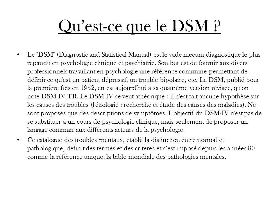 Les limites du DSM Le comité qui supervise lélaboration du DSM-V est composé de 28 psychiatres, dont 16 gardent de forts liens financiers avec l industrie pharmaceutique.