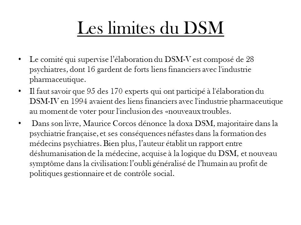 Les limites du DSM Le comité qui supervise lélaboration du DSM-V est composé de 28 psychiatres, dont 16 gardent de forts liens financiers avec l'indus