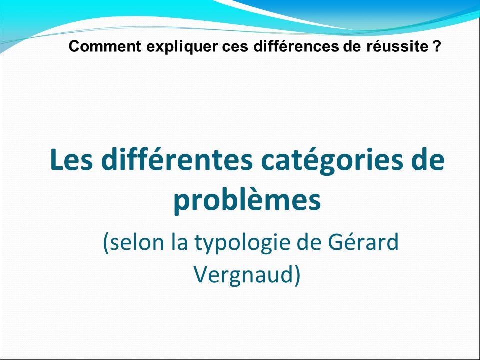 Comment expliquer ces différences de réussite ? Les différentes catégories de problèmes (selon la typologie de Gérard Vergnaud)
