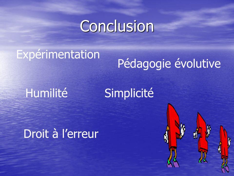 Conclusion Expérimentation Pédagogie évolutive Humilité Simplicité Droit à lerreur