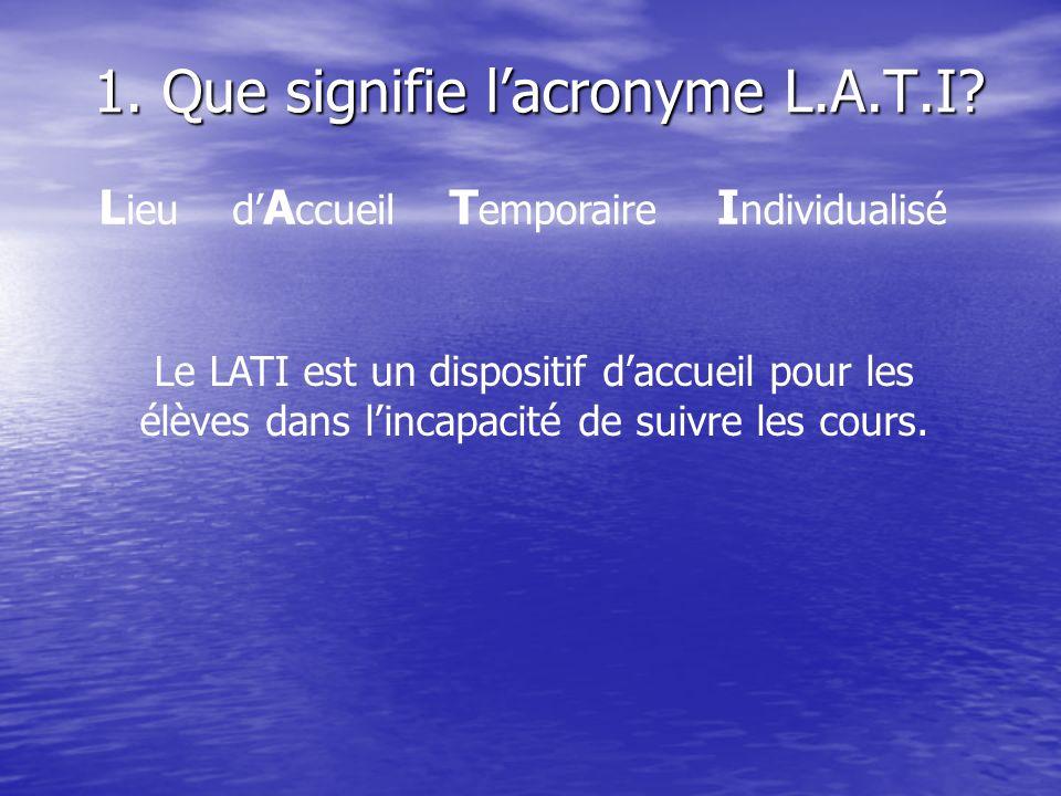 1.Que signifie lacronyme L.A.T.I.