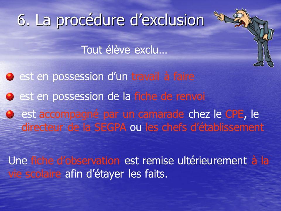 6. La procédure dexclusion Tout élève exclu… est en possession dun travail à faire est en possession de la fiche de renvoi est accompagné par un camar