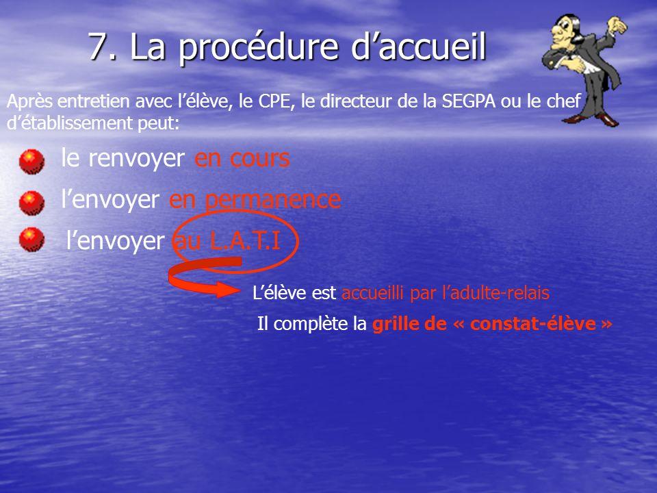 7. La procédure daccueil Après entretien avec lélève, le CPE, le directeur de la SEGPA ou le chef détablissement peut: le renvoyer en cours lenvoyer e