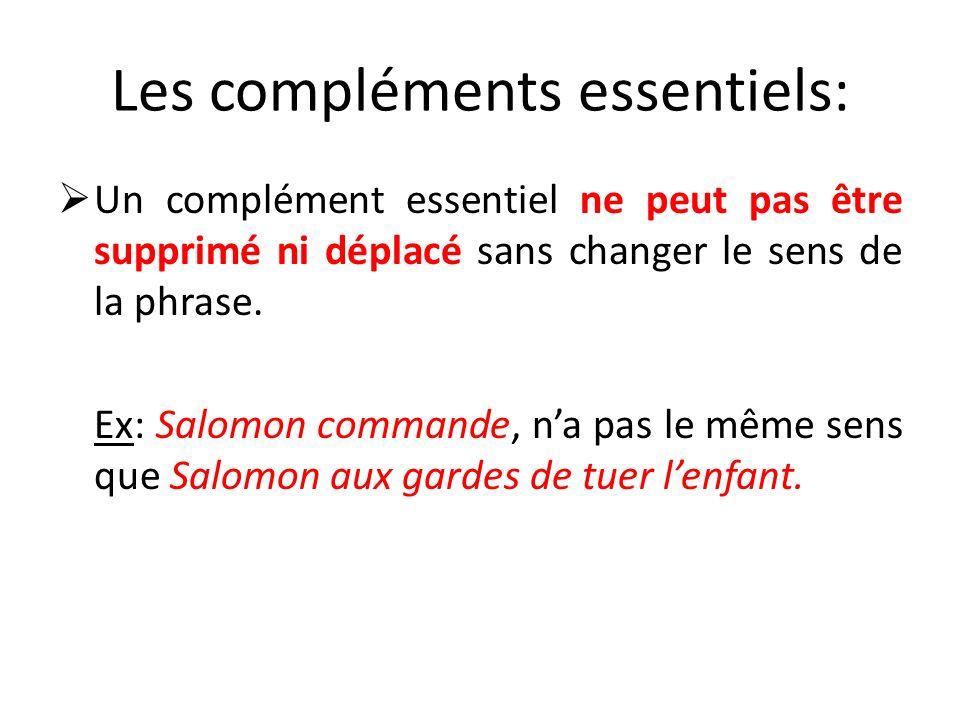 Les compléments essentiels: Un complément essentiel ne peut pas être supprimé ni déplacé sans changer le sens de la phrase. Ex: Salomon commande, na p