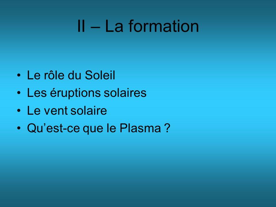 II – La formation Le rôle du Soleil Les éruptions solaires Le vent solaire Quest-ce que le Plasma ?
