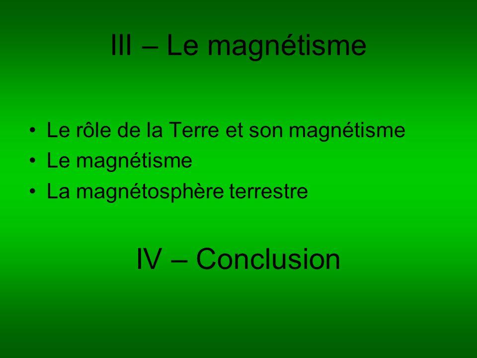 III – Le magnétisme Le rôle de la Terre et son magnétisme Le magnétisme La magnétosphère terrestre IV – Conclusion