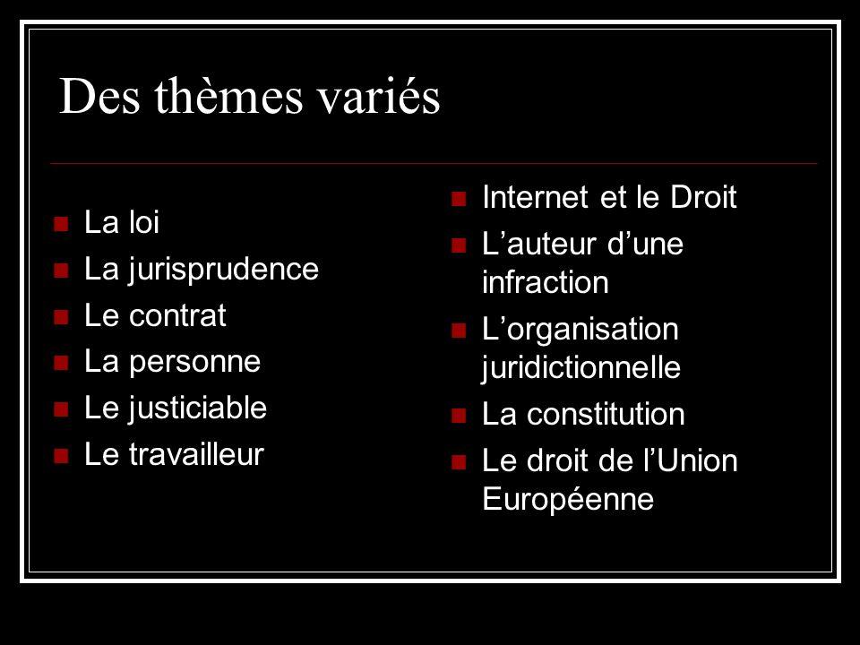 Des thèmes variés La loi La jurisprudence Le contrat La personne Le justiciable Le travailleur Internet et le Droit Lauteur dune infraction Lorganisat