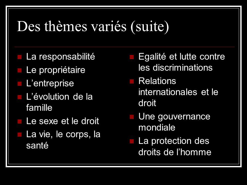 Des thèmes variés (suite) La responsabilité Le propriétaire Lentreprise Lévolution de la famille Le sexe et le droit La vie, le corps, la santé Egalit