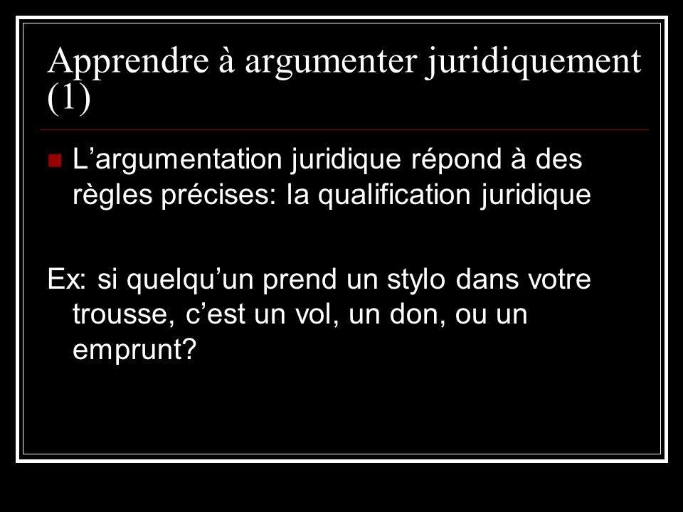 Apprendre à argumenter juridiquement (1) Largumentation juridique répond à des règles précises: la qualification juridique Ex: si quelquun prend un st