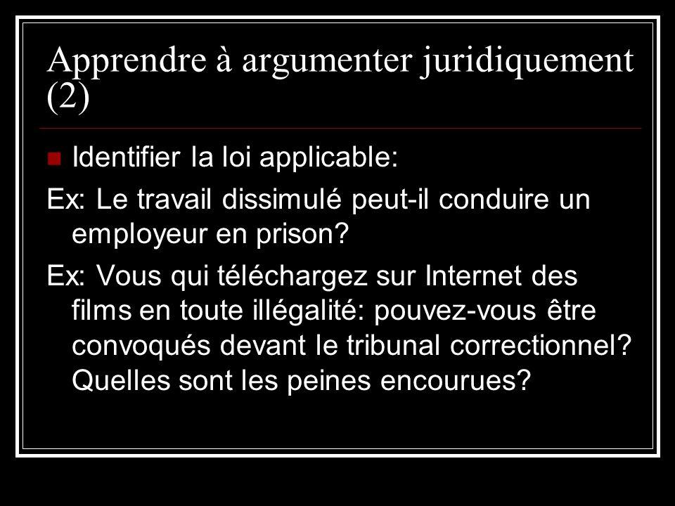 Apprendre à argumenter juridiquement (2) Identifier la loi applicable: Ex: Le travail dissimulé peut-il conduire un employeur en prison? Ex: Vous qui