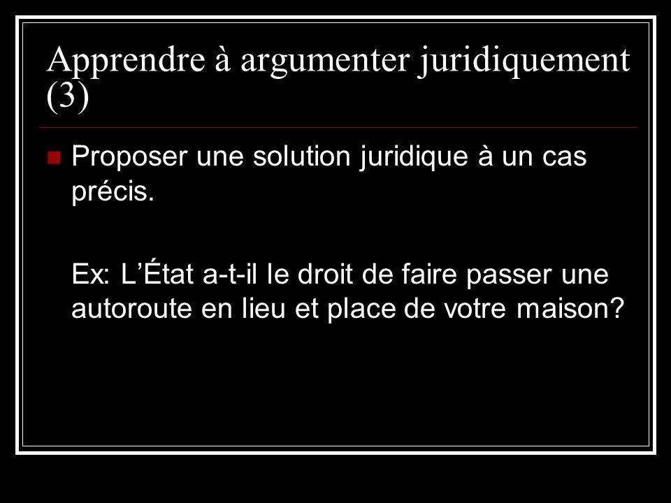 Apprendre à argumenter juridiquement (3) Proposer une solution juridique à un cas précis. Ex: LÉtat a-t-il le droit de faire passer une autoroute en l