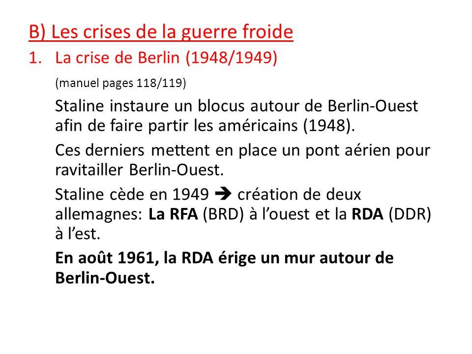 B) Les crises de la guerre froide 1.La crise de Berlin (1948/1949) (manuel pages 118/119) Staline instaure un blocus autour de Berlin-Ouest afin de fa