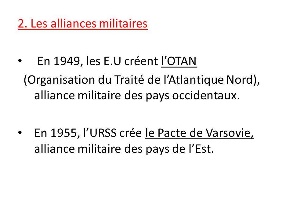 2. Les alliances militaires En 1949, les E.U créent lOTAN (Organisation du Traité de lAtlantique Nord), alliance militaire des pays occidentaux. En 19