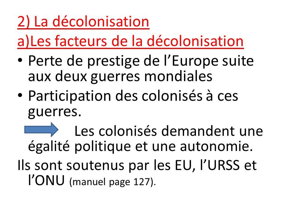 2) La décolonisation a)Les facteurs de la décolonisation Perte de prestige de lEurope suite aux deux guerres mondiales Participation des colonisés à c
