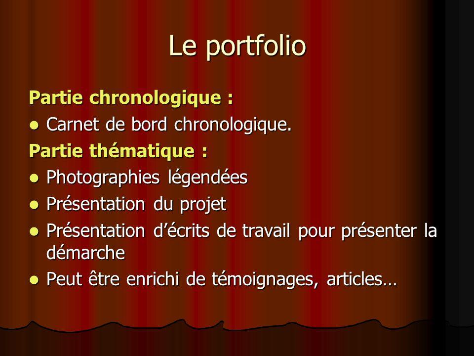 Le portfolio Partie chronologique : Carnet de bord chronologique. Carnet de bord chronologique. Partie thématique : Photographies légendées Photograph