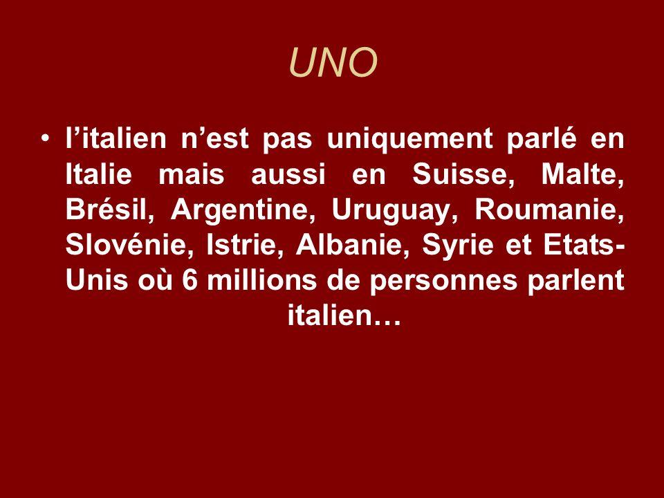 UNO litalien nest pas uniquement parlé en Italie mais aussi en Suisse, Malte, Brésil, Argentine, Uruguay, Roumanie, Slovénie, Istrie, Albanie, Syrie e